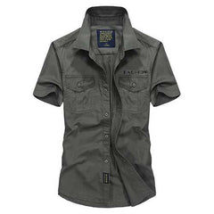 Casual Outdoor Loose Breathable Chest Pockets Short Sleeve Lapel Shirts for Men-Men Shirts-SJI Shop