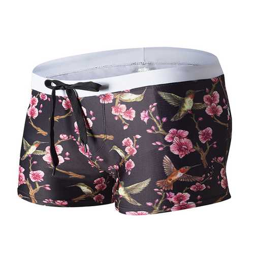 AUSTiNBEM Mens Summer Floral Printing Double Pockets Beach Swimming Shorts Casual Boxers-Men Beachwear-SJI Shop