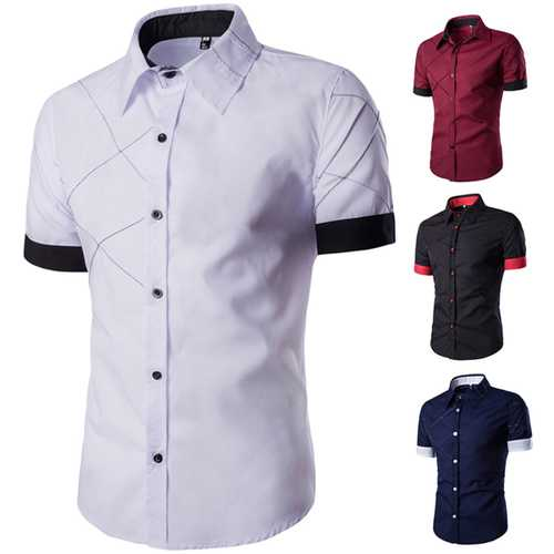 Mens Fashion Stitching Color Grid Short Sleeve Turn-down Collar Short Sleeve Casual Shirts-Men Shirts-SJI Shop