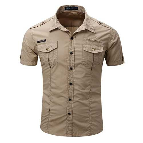 Mens Outdoor Washed Cargo Chest Pockets Solid Color Turn-down Collar Casual Shirts-Men Shirts-SJI Shop