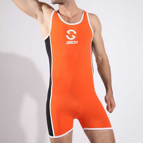 Fashion Sexy Contrast Color Bodybuilding Sports Jumpsuits Conjoined Swimsuits for Men-Men Beachwear-SJI Shop