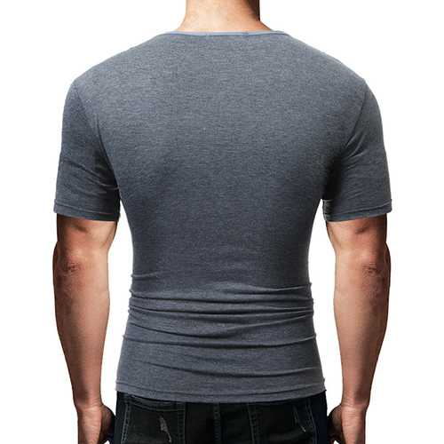 Men's Casual Multi Button O-neck T-shirt Chest Pocket Design Short Sleeve Tops-Men's Clothing-SJI Shop