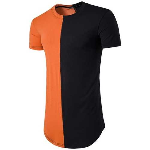 Summer Spring Contrast Color Cotton T-shirts Men's O-neck Slim-fitting Short Sleeve Long Tops-Men's Clothing-SJI Shop