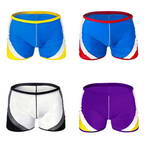 AUSTINBEM Mens Contrast Color Swimming Beach Shorts Casual Spa Surf Mid-waist Trunks-Men Beachwear-SJI Shop