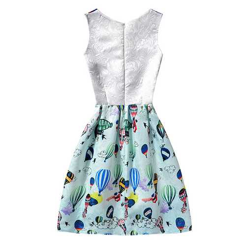Kid Girls Sleeveless O-Neck Printed Dress-Girls Clothing-SJI Shop
