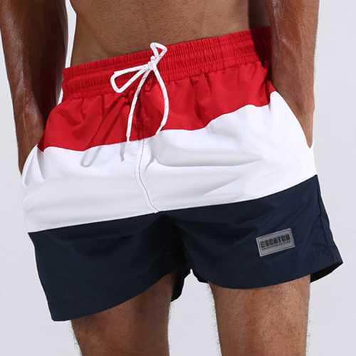 ESCATCH Mens Summer Outdoor Stitching Striped Board Shorts Sports Surf Beach Shorts-Men Beachwear-SJI Shop