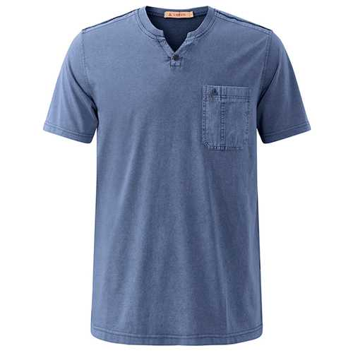 Summer Casual V Neck Comfort Cotton T-shirt Men's Fashion Chest Pocket Tops Tees-Men's Clothing-SJI Shop