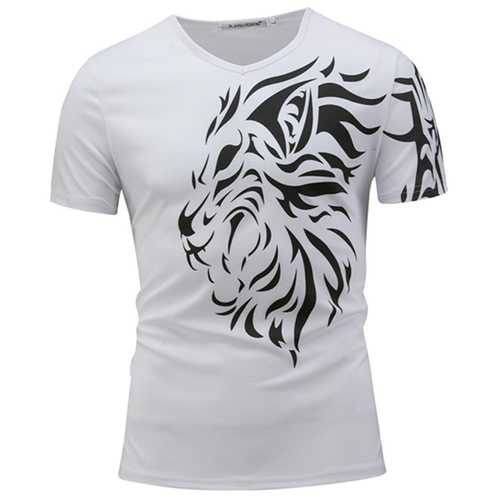 Men's Fashion Lion Head Printed T-shirt Leisure V-collar Short Sleeved T-shirt-Men's Clothing-SJI Shop