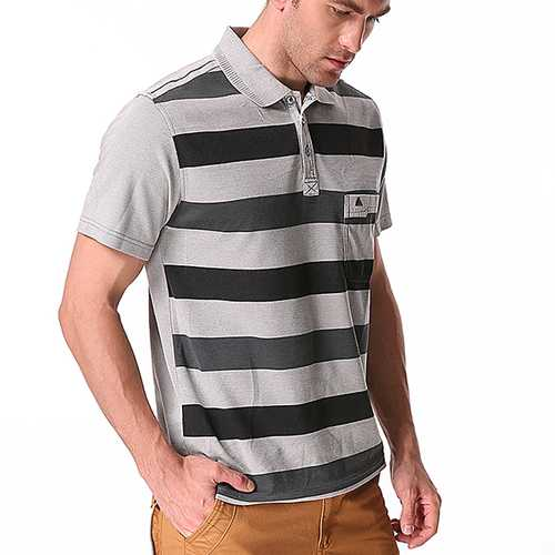 Men's Striped Printed Soft Cotton T-shirts Casual Turn-down Collar Golf Shirt-Men's Clothing-SJI Shop