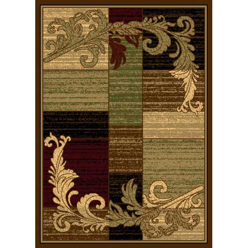 Wreath Leaf Brown/Beige Area Rug-Rugs-SJI Shop