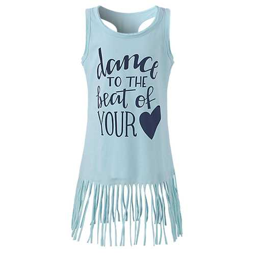 Baby Kid Girls Letters Heart Printed Tassel Sleeveless Tank Dress-Girls Clothing-SJI Shop