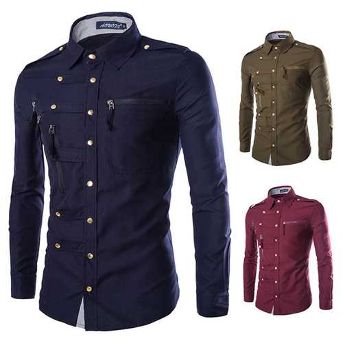 Mens Stylish Fashion Snap Fastener Multi Pockets Zippers Epaulet Decoration Slim Fit Designer Shirt-Men Shirts-SJI Shop