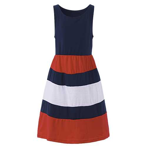 Summer Kid Girls Striped Patchwork Sleeveless Tank Maxi Dress-Girls Clothing-SJI Shop