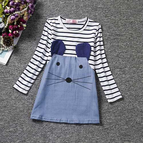 Cute Kid Girls Striped Cartoon Little Mouse Patchwork Dress-Girls Clothing-SJI Shop