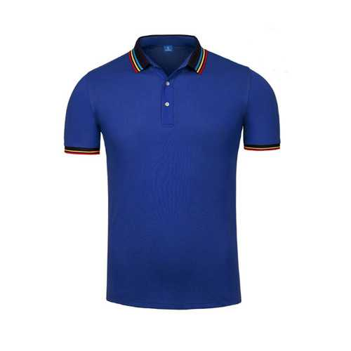 Summer Casual Mens Business Solid Color Lapel Golf Shirts-Men's Clothing-SJI Shop