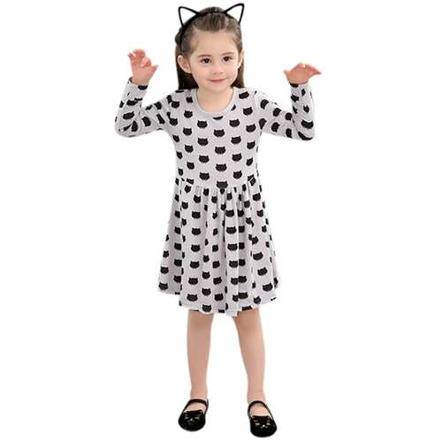 Kid Girls Black Cats Printed Long Sleeve Dress-Girls Clothing-SJI Shop