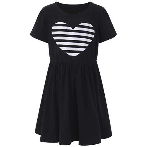 Sweet Kid Girls Love Heart Printed Long Sleeve Striped Dress-Girls Clothing-SJI Shop