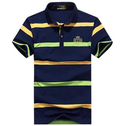 Mens Business Striped Printed Turn-down Collar Golf Shirt-Men's Clothing-SJI Shop