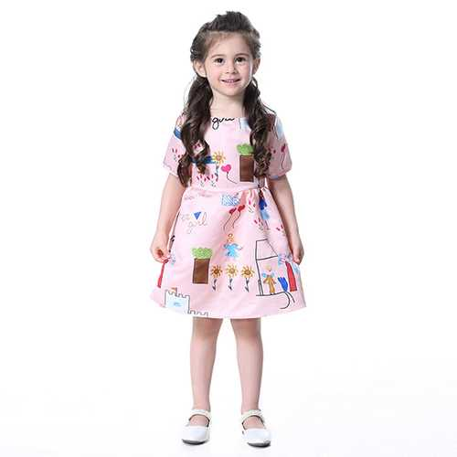 Kid Girls Pattern Printed Short Sleeve Princess Dress-Girls Clothing-SJI Shop