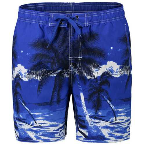 Mens Summer Beach Vacation Quick Dry Coconut Trees Printing Hawaiian Board Shorts-Men Beachwear-SJI Shop