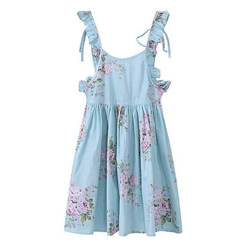 Kid Girls Cotton Vintage Floral Printed Sleeveless Backless Princess Dress-Girls Clothing-SJI Shop