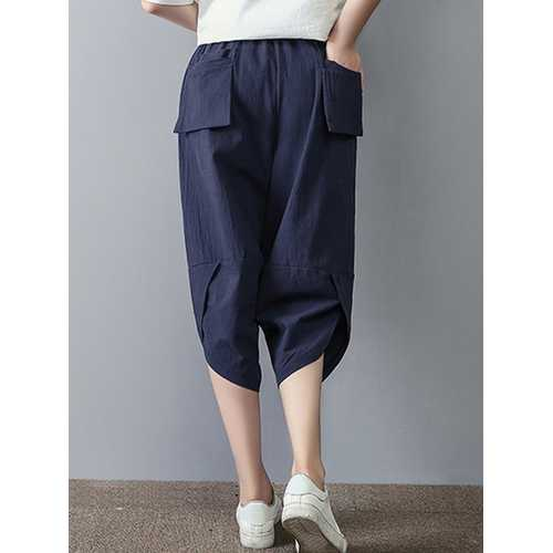 Casual Women Elastic Waist Pure Color Pocket Capri Pants-Women Bottoms-SJI Shop