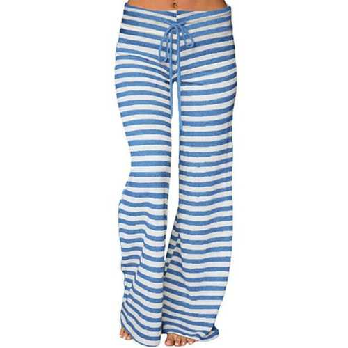 Casual Loose Stripe Elastic Waist Women Pants-Women Bottoms-SJI Shop