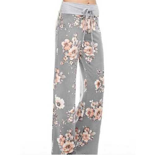 Casual Loose Floral Printed High Waist Women Drawstring Wide Leg Pants-Women Bottoms-SJI Shop