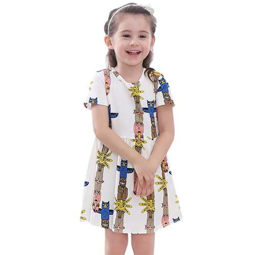 Kid Girls Short Sleeve Cartoon Pattern Printed Dress-Girls Clothing-SJI Shop