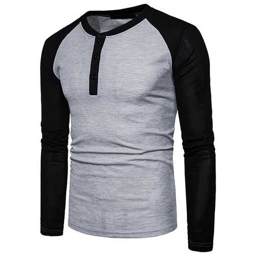 Men's Henry Collar Spell Color T-shirt Casual Buttons Half-cardigan Long Sleeve T-shirt-Men's Clothing-SJI Shop