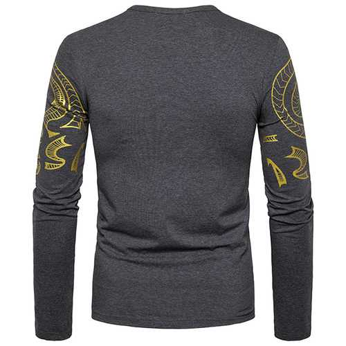 Fashion Men 's Dragon Totem Hot Stamping T-shirt Leisure Long Sleeved Round Neck Tops-Men's Clothing-SJI Shop