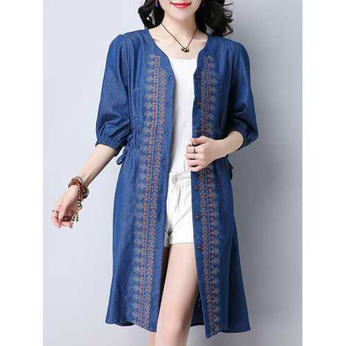 Vintage Women Embroidered V-Neck Button Up Denim Cardigan-Women Outwear-SJI Shop