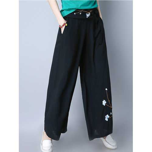 Folk Style Embroidery Loose Wide Leg Pants-Women Bottoms-SJI Shop