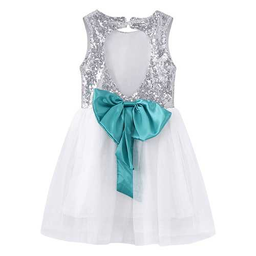Kid Girls Sequins Bowknot Backless Party Dress-Girls Clothing-SJI Shop