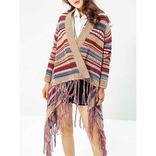 Ethnic Women Colorful Striped Long Sleeve Tassel Sweater Cardigan-Women Outwear-SJI Shop