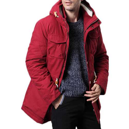 Mens Winter Cotton Plus Thick Warm Hooded Parka Outwear Jacket-Men Outwear-SJI Shop