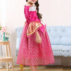 Rose Red Kid Girls Half Sleeve Printed Party Princess Dress-Girls Clothing-SJI Shop