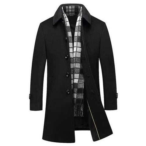 Black Business Stylish Woolen Overcoat Mid Long Trench Coat-Men Outwear-SJI Shop