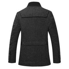 Mens Busniess Single-breasted Wool Trench Solid Color Jacket-Men Outwear-SJI Shop