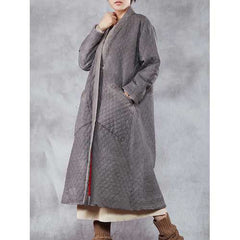 Casual Loose Plaid Solid Pockets Stand Collar Coat-Women Bottoms-SJI Shop