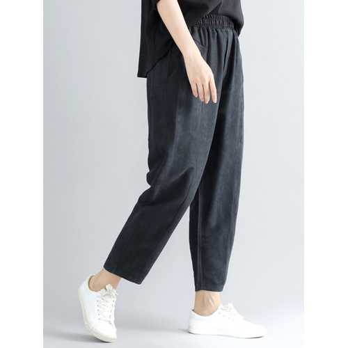 Casual Loose Elastic High Waist Pure Color Women Pants-Women Bottoms-SJI Shop