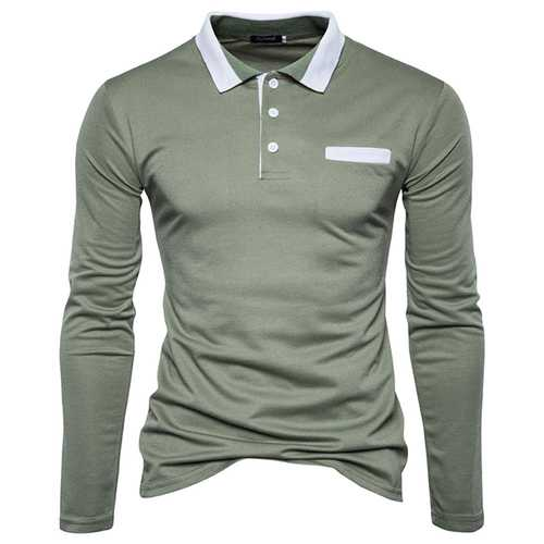Solid Color Lapel Slim Casual Long-sleeved Golf Shirt-Men's Clothing-SJI Shop
