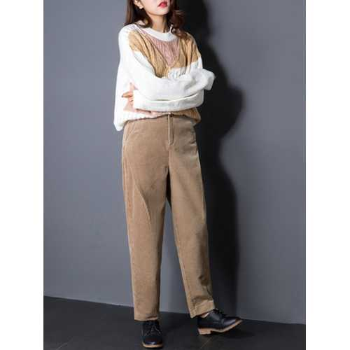 Casual Women High Waist Pockets Pure Color Corduroy Pant-Women Bottoms-SJI Shop