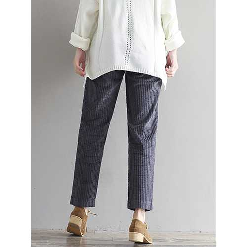 Casual Solid Color Elastic Waist Corduroy Pants-Women Bottoms-SJI Shop