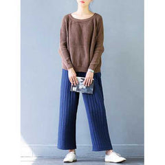 Casual Women Thicken Stripe Drawstring Waist Wide Leg Pants-Women Bottoms-SJI Shop