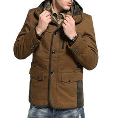 Mens Thick Velvet Winter Warm Hooded Outdoor Cotton Jacket-Men Outwear-SJI Shop