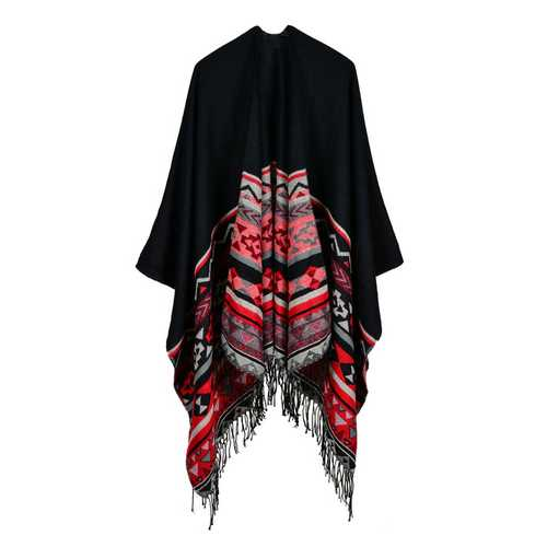 Women Sleeveless Geometric Tassel Striped Reversible Wrap-Women Outwear-SJI Shop