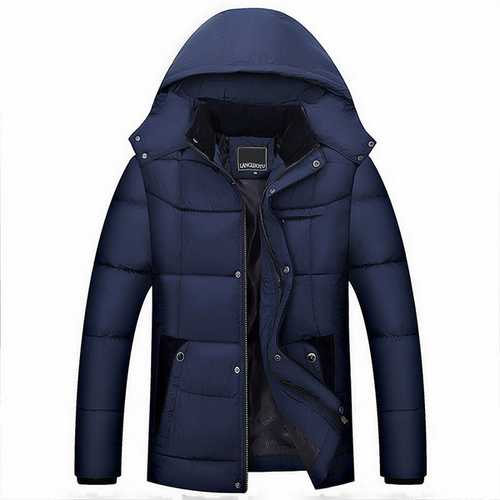 Mens Thick Winter Warm Hooded Detachable Stand Collar Jacket-Men Outwear-SJI Shop