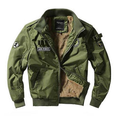 Fashion Bomber Jacket Fleece Thick Warm Flight Jackets-Men Outwear-SJI Shop