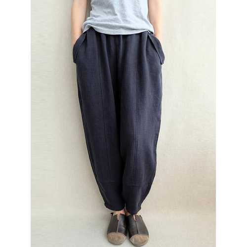 S-5XL Women Elastic Waist Solid Color Loose Casual Pant-Women Bottoms-SJI Shop